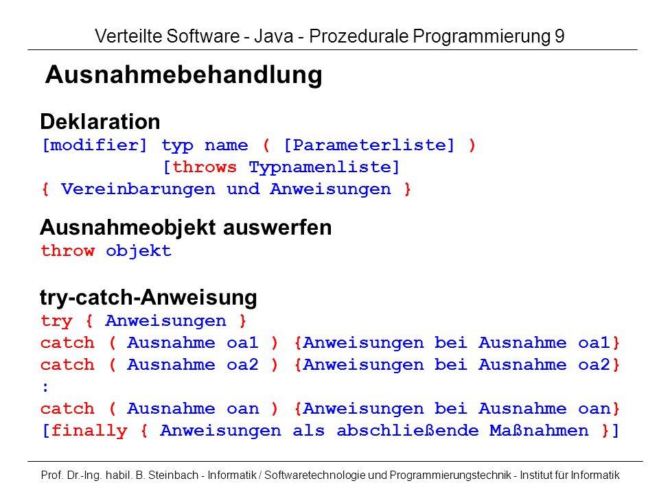Verteilte Software - Java - Prozedurale Programmierung 9