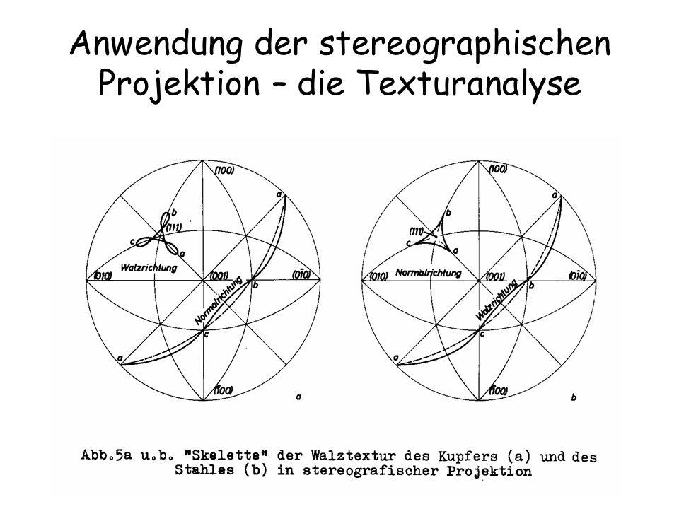 Anwendung der stereographischen Projektion – die Texturanalyse