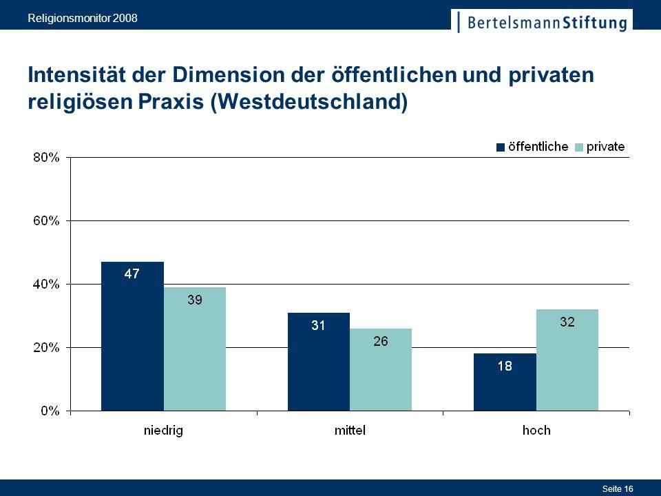 Religionsmonitor 2008 Intensität der Dimension der öffentlichen und privaten religiösen Praxis (Westdeutschland)