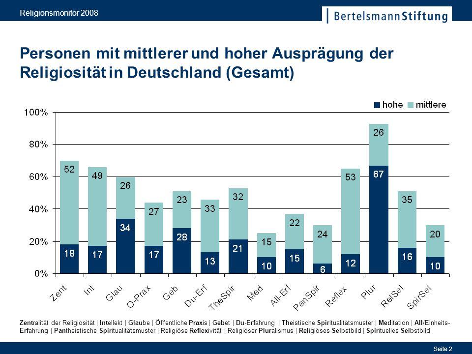 Religionsmonitor 2008 Personen mit mittlerer und hoher Ausprägung der Religiosität in Deutschland (Gesamt)