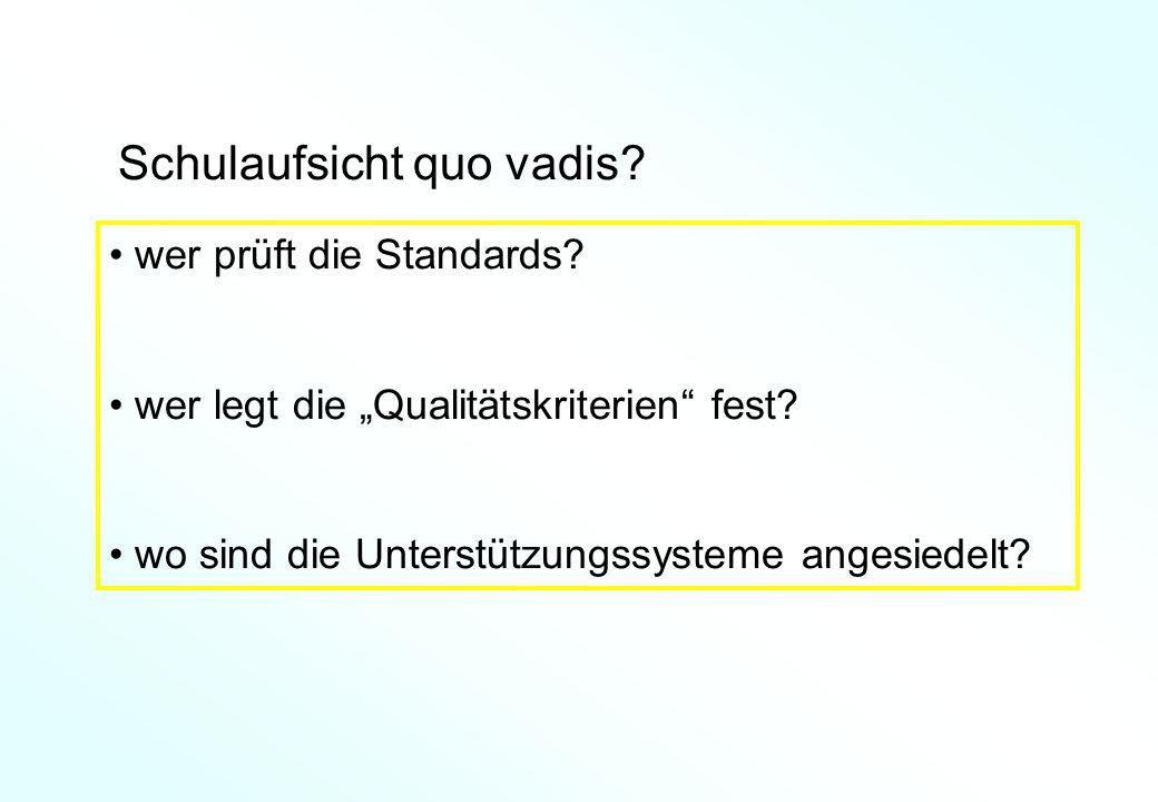 Schulaufsicht quo vadis