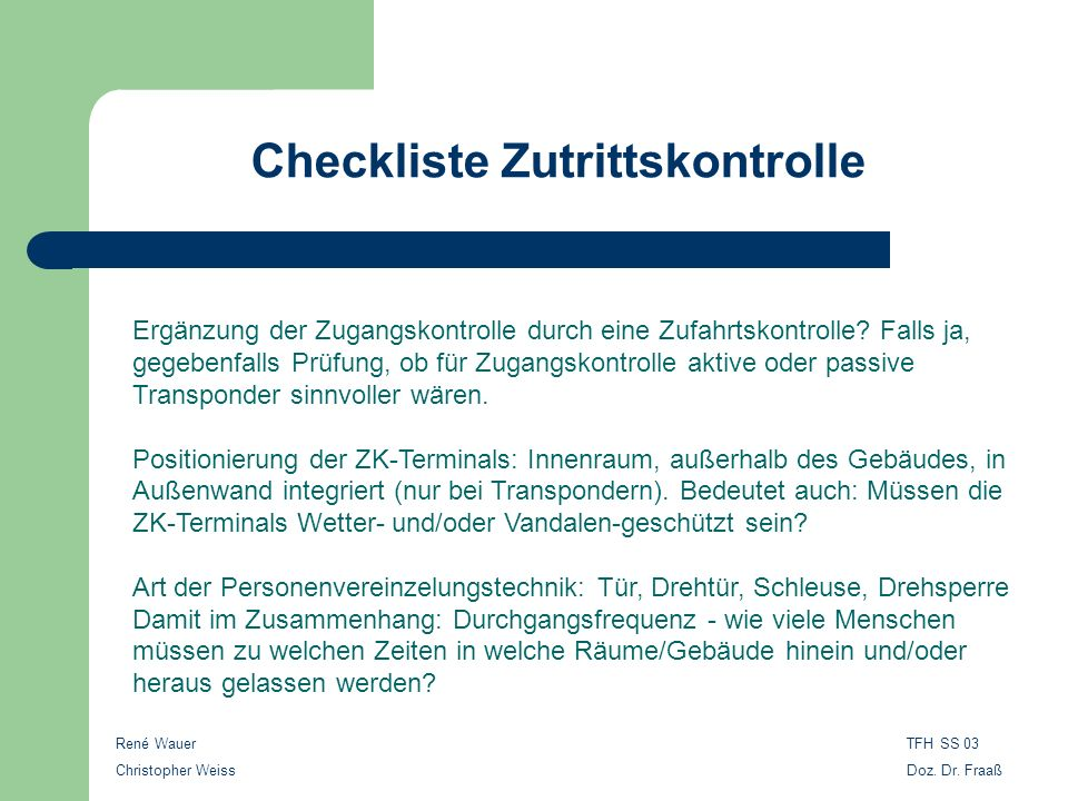 Checkliste Zutrittskontrolle