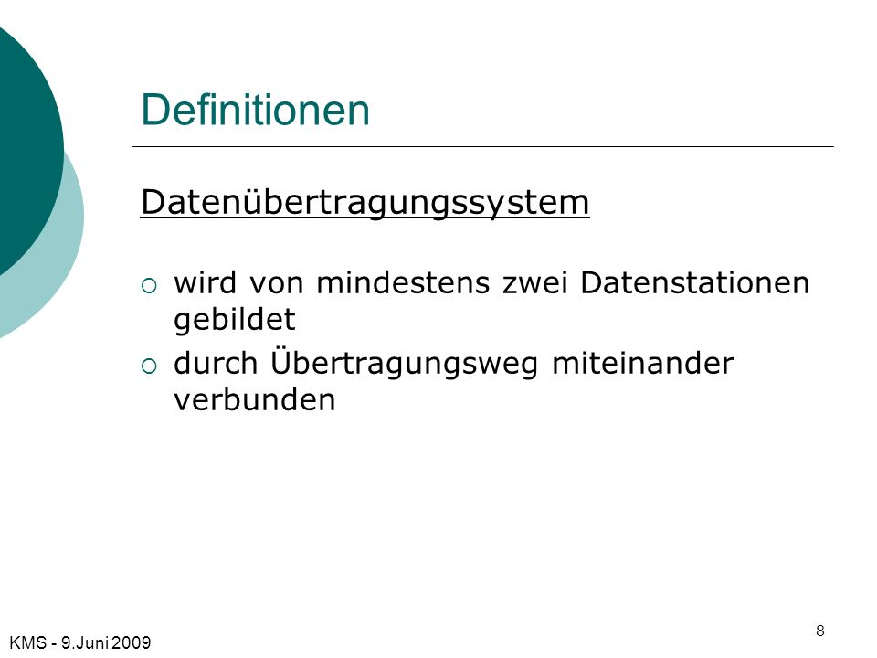 Definitionen Datenübertragungssystem