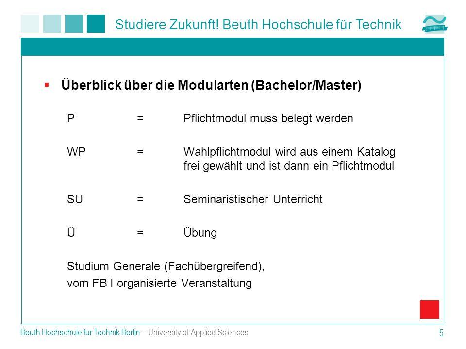 Überblick über die Modularten (Bachelor/Master)