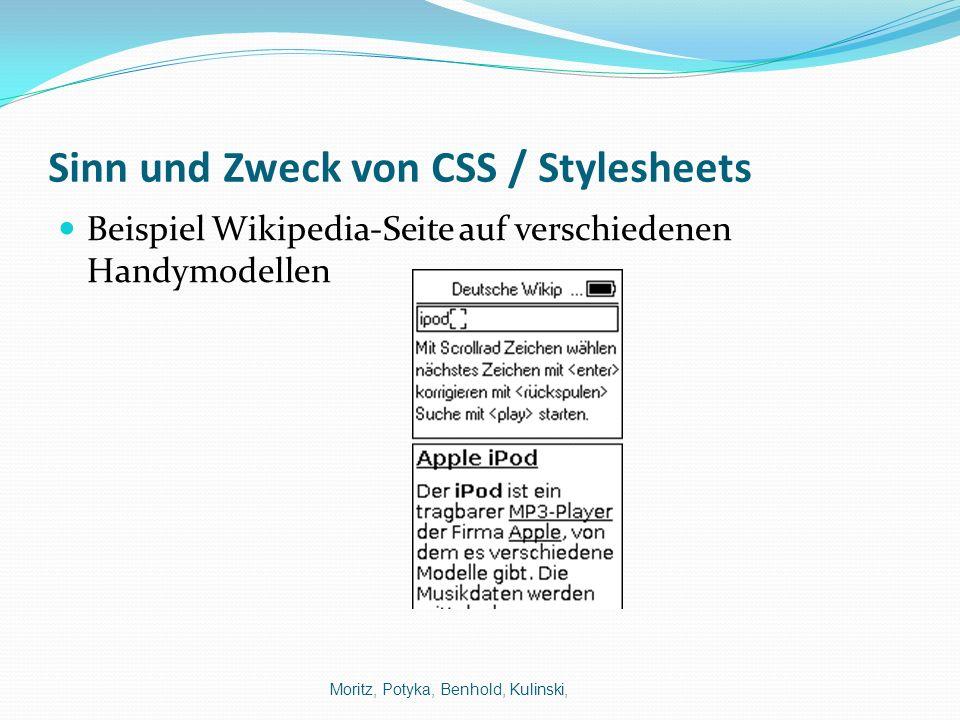 Sinn und Zweck von CSS / Stylesheets