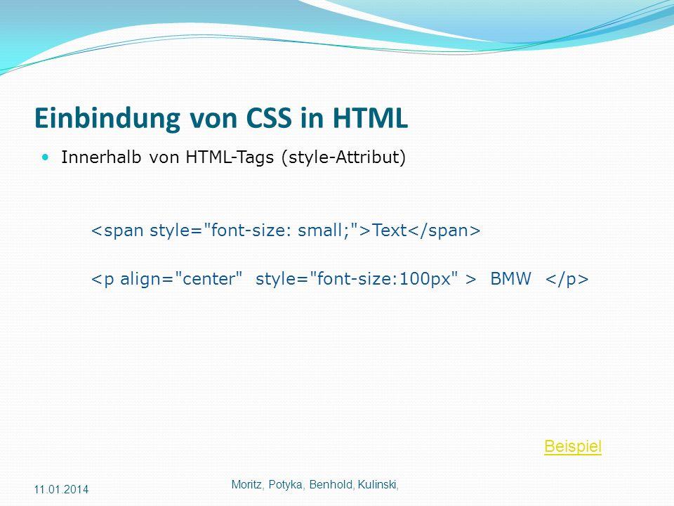 Einbindung von CSS in HTML