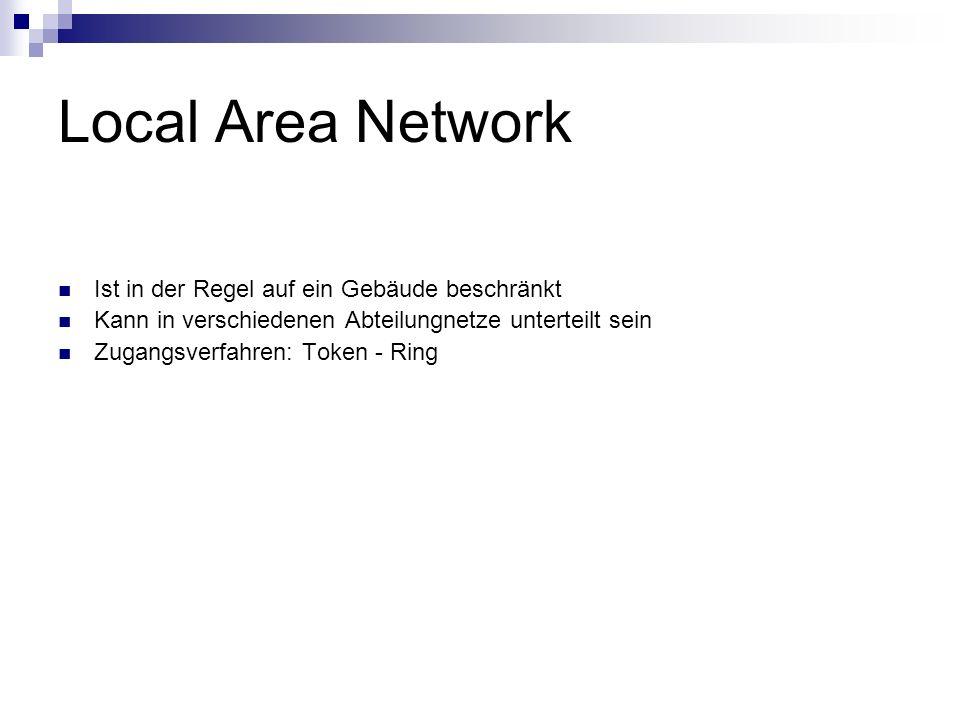 Local Area Network Ist in der Regel auf ein Gebäude beschränkt
