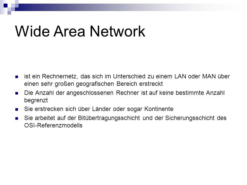 Wide Area Network ist ein Rechnernetz, das sich im Unterschied zu einem LAN oder MAN über einen sehr großen geografischen Bereich erstreckt.