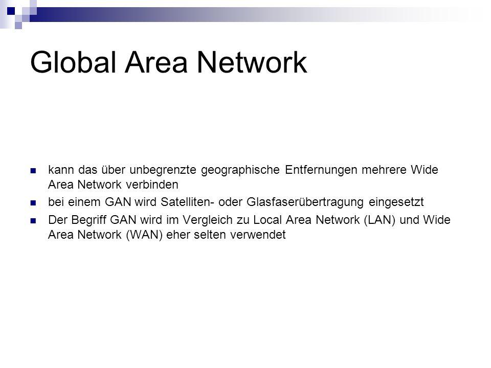 Global Area Network kann das über unbegrenzte geographische Entfernungen mehrere Wide Area Network verbinden.