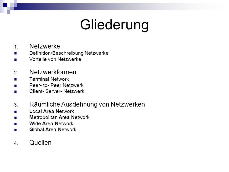 Gliederung Netzwerke Netzwerkformen