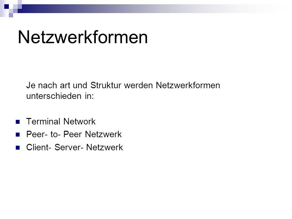 Netzwerkformen Je nach art und Struktur werden Netzwerkformen unterschieden in: Terminal Network. Peer- to- Peer Netzwerk.