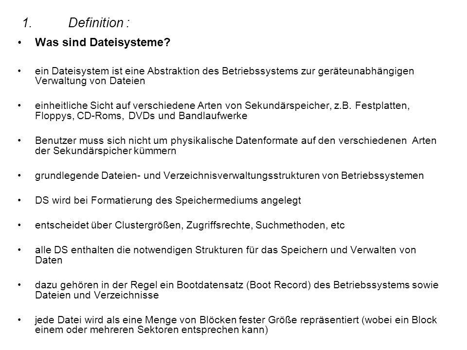 1. Definition : Was sind Dateisysteme