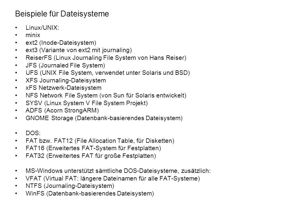Beispiele für Dateisysteme