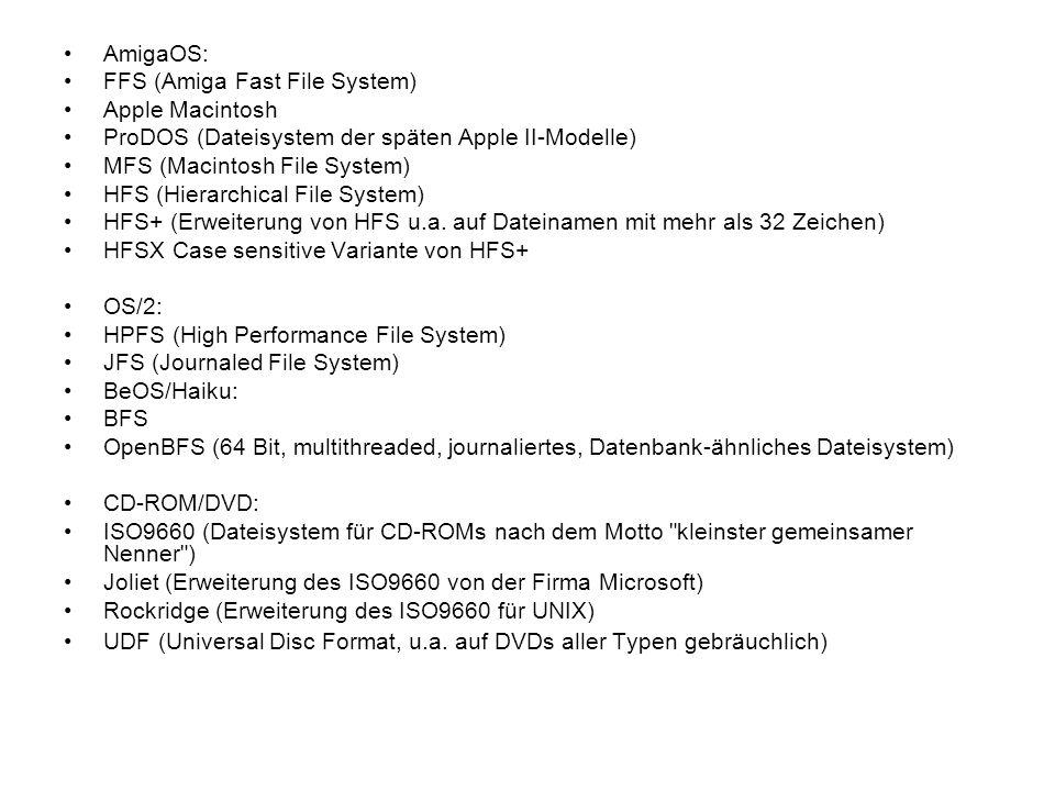 AmigaOS: FFS (Amiga Fast File System) Apple Macintosh. ProDOS (Dateisystem der späten Apple II-Modelle)