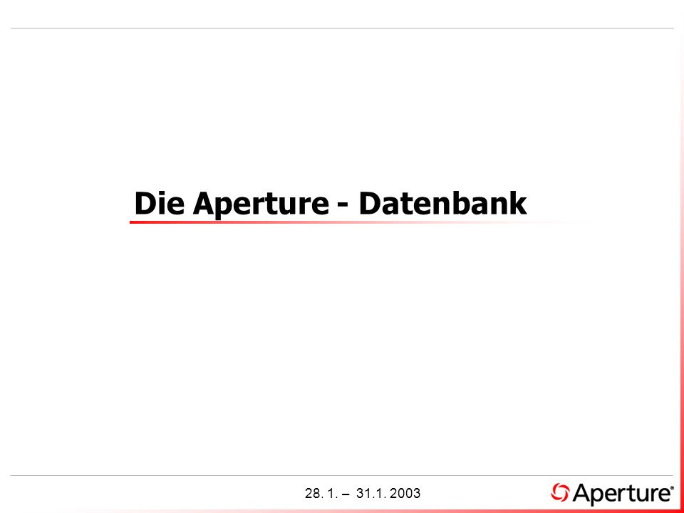 Die Aperture - Datenbank