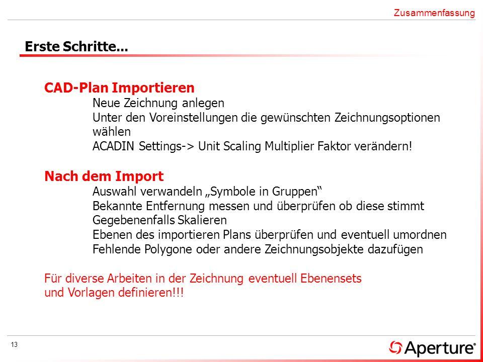Erste Schritte... CAD-Plan Importieren Nach dem Import