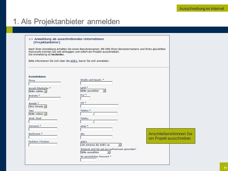 1. Als Projektanbieter anmelden