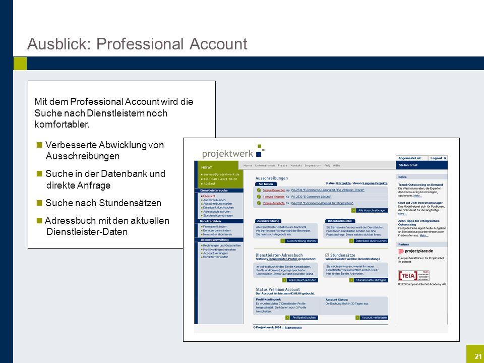 Ausblick: Professional Account