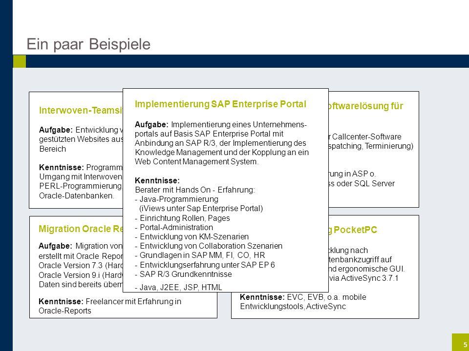Ein paar Beispiele Implementierung SAP Enterprise Portal