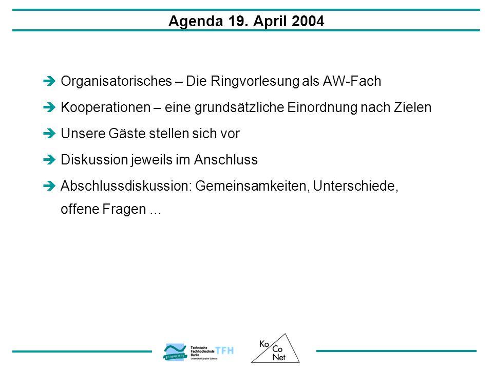 Agenda 19. April 2004 Organisatorisches – Die Ringvorlesung als AW-Fach. Kooperationen – eine grundsätzliche Einordnung nach Zielen.