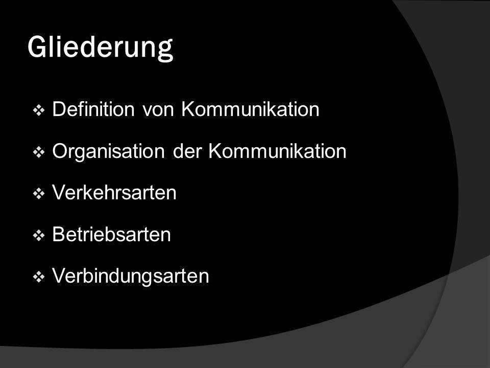 Gliederung Definition von Kommunikation Organisation der Kommunikation