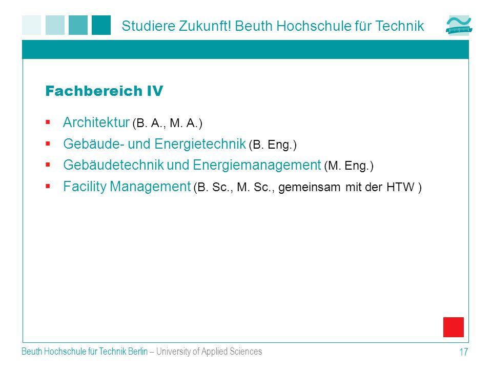 Fachbereich IV Architektur (B. A., M. A.)