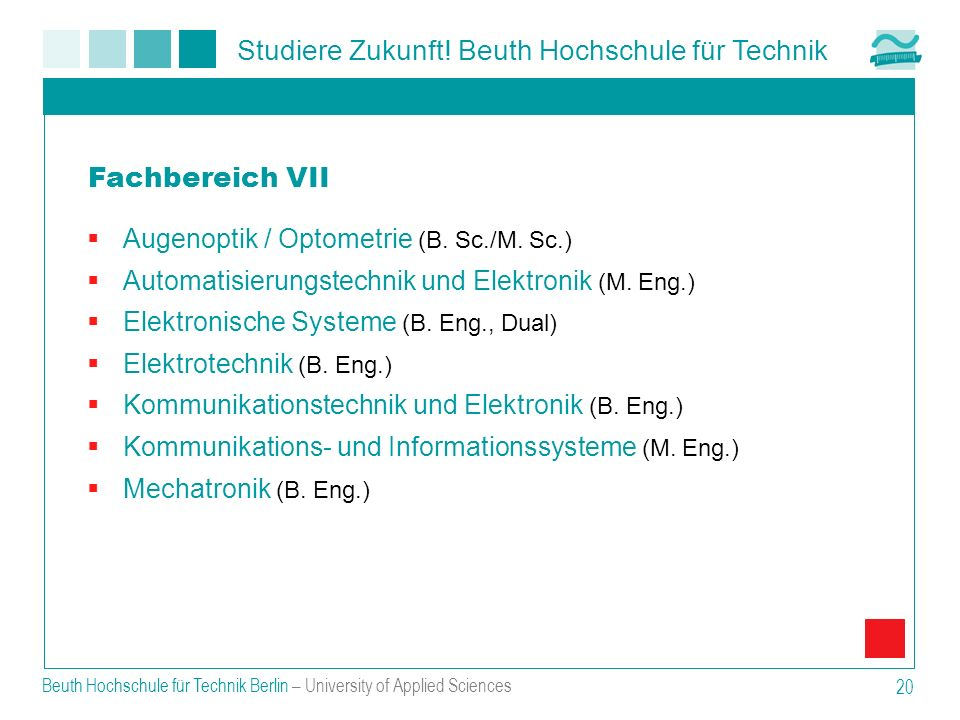 Fachbereich VII Augenoptik / Optometrie (B. Sc./M. Sc.)