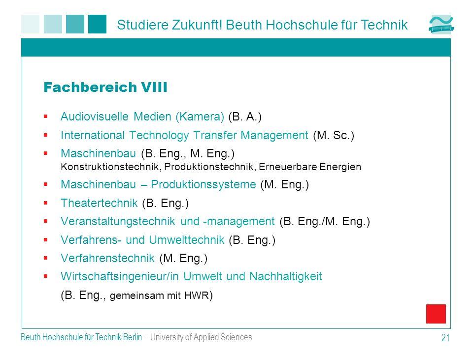 Fachbereich VIII Audiovisuelle Medien (Kamera) (B. A.)