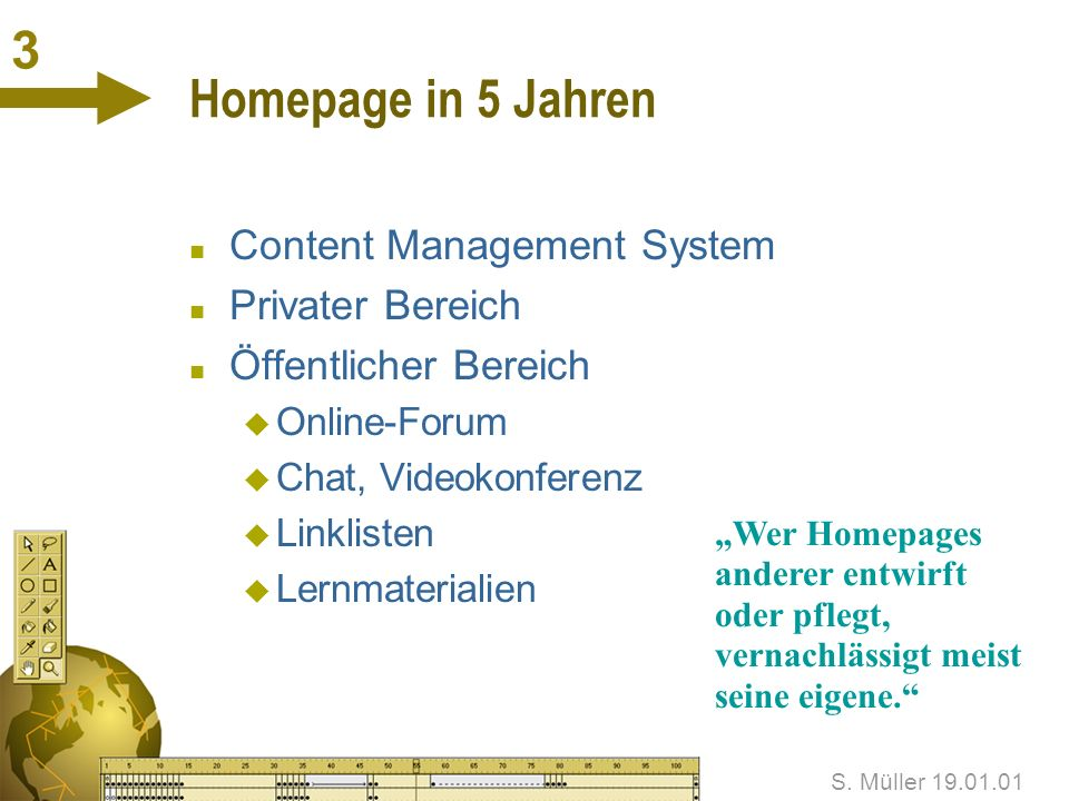 3 Homepage in 5 Jahren Content Management System Privater Bereich