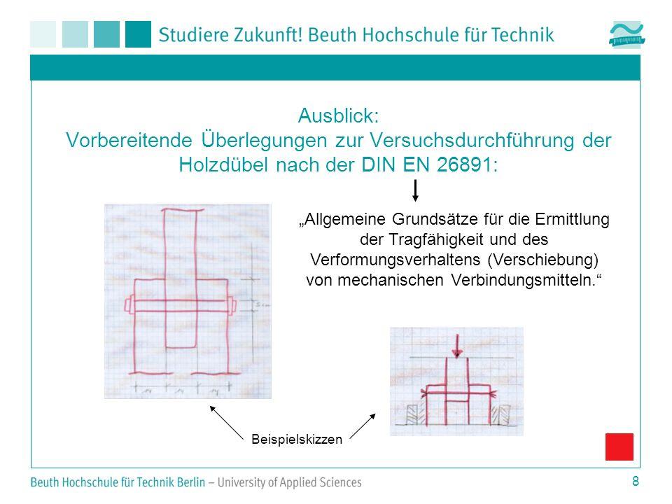 Ausblick: Vorbereitende Überlegungen zur Versuchsdurchführung der Holzdübel nach der DIN EN 26891: