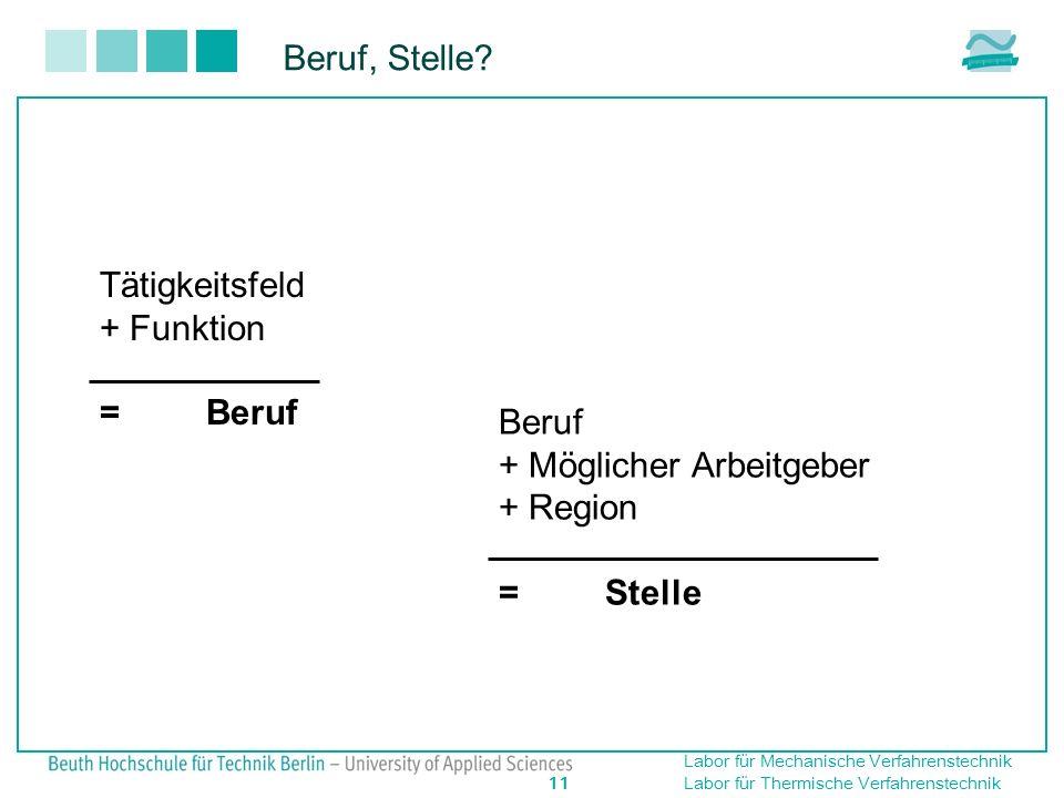 Beruf, Stelle Tätigkeitsfeld + Funktion = Beruf Beruf + Möglicher Arbeitgeber + Region = Stelle