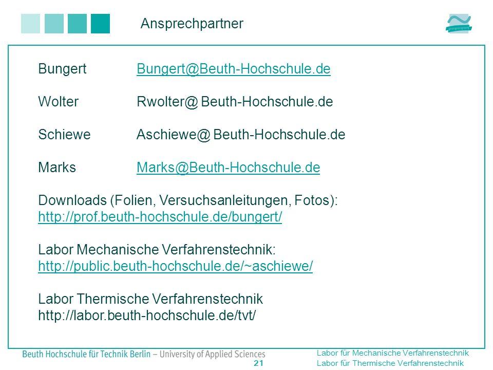 Ansprechpartner Bungert Bungert@Beuth-Hochschule.de. Wolter Rwolter@ Beuth-Hochschule.de. Schiewe Aschiewe@ Beuth-Hochschule.de.