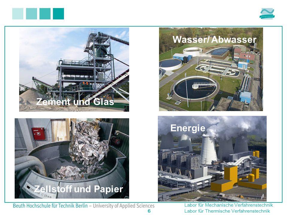 Wasser/ Abwasser Zement und Glas Energie Zellstoff und Papier Energie