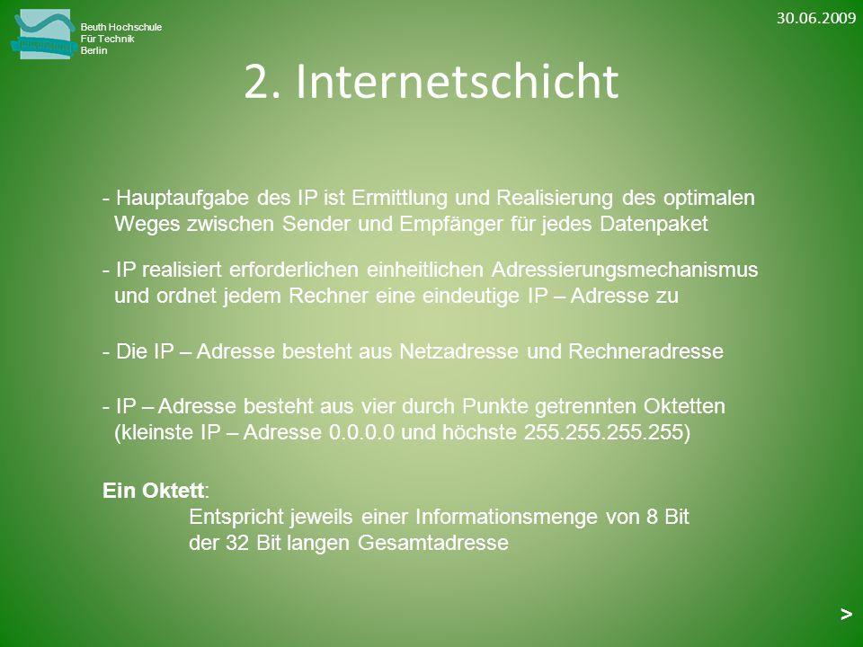 30.06.2009 Beuth Hochschule. Für Technik. Berlin. 2. Internetschicht. Hauptaufgabe des IP ist Ermittlung und Realisierung des optimalen.