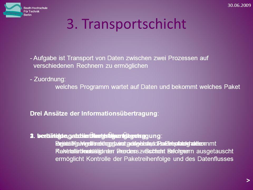30.06.2009 Beuth Hochschule. Für Technik. Berlin. 3. Transportschicht. - Aufgabe ist Transport von Daten zwischen zwei Prozessen auf.