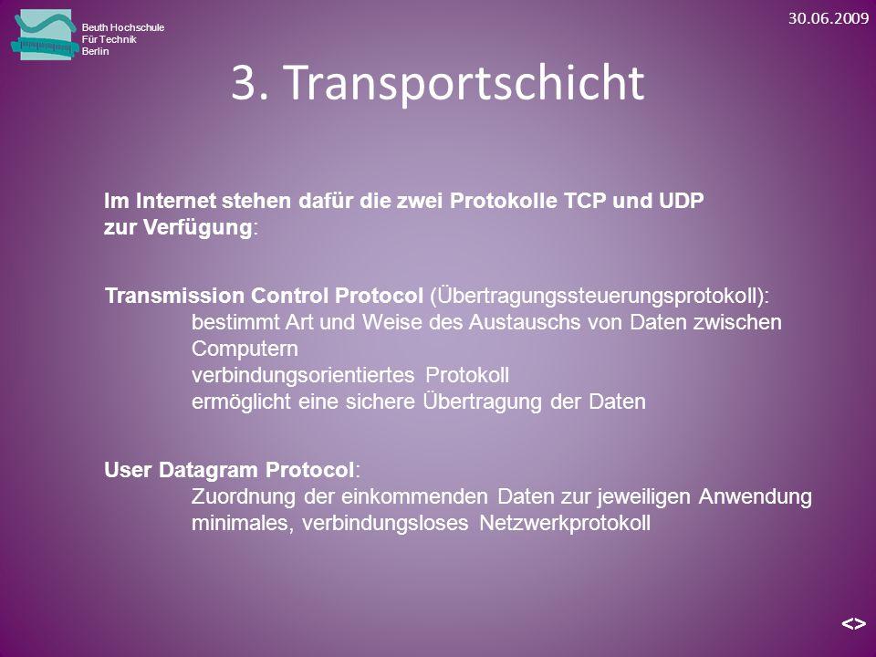 30.06.2009 Beuth Hochschule. Für Technik. Berlin. 3. Transportschicht. Im Internet stehen dafür die zwei Protokolle TCP und UDP.