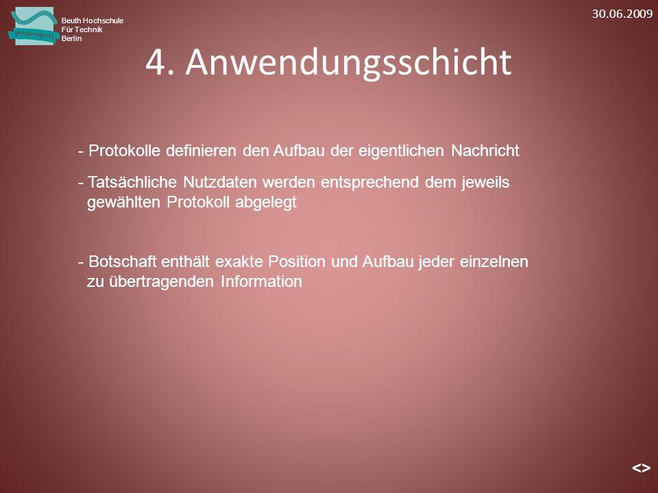 30.06.2009 Beuth Hochschule. Für Technik. Berlin. 4. Anwendungsschicht. Protokolle definieren den Aufbau der eigentlichen Nachricht.
