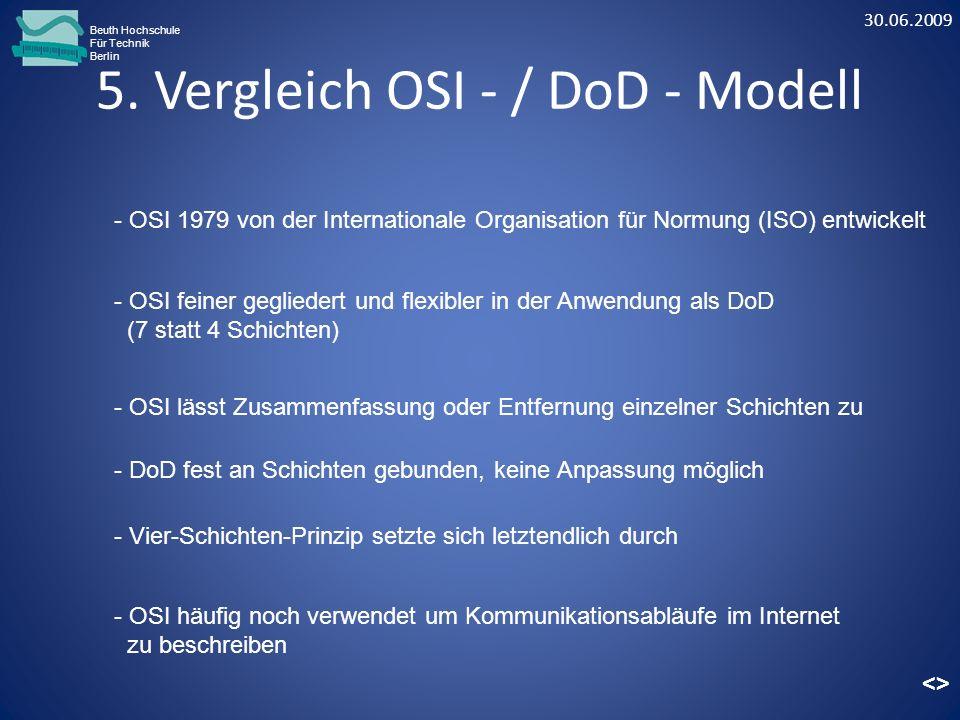 5. Vergleich OSI - / DoD - Modell