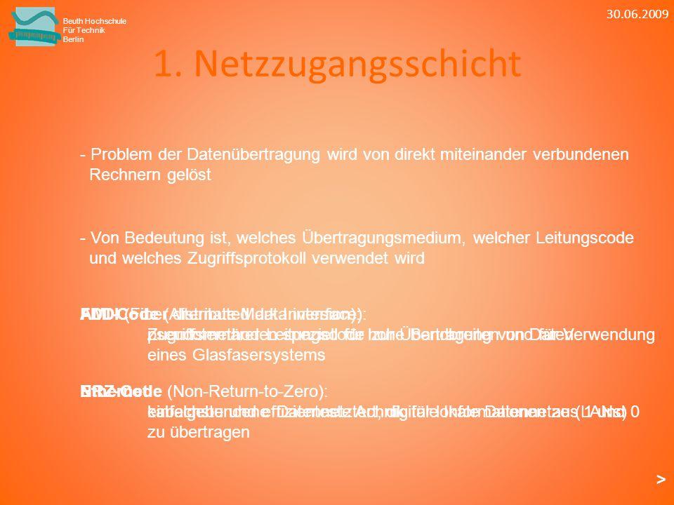 30.06.2009 Beuth Hochschule. Für Technik. Berlin. 1. Netzzugangsschicht. - Problem der Datenübertragung wird von direkt miteinander verbundenen.
