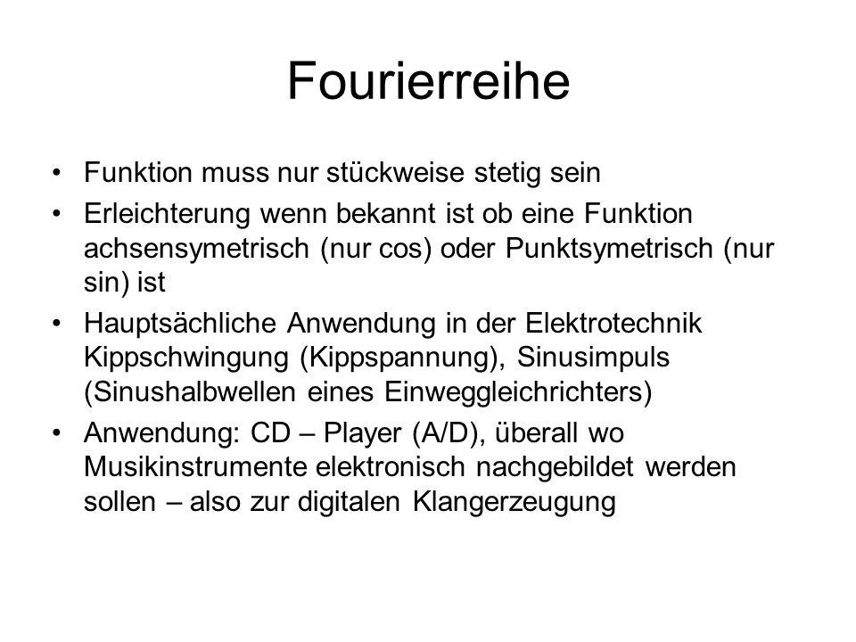 Fourierreihe Funktion muss nur stückweise stetig sein