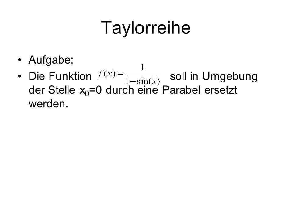 Taylorreihe Aufgabe: Die Funktion soll in Umgebung der Stelle x0=0 durch eine Parabel ersetzt werden.