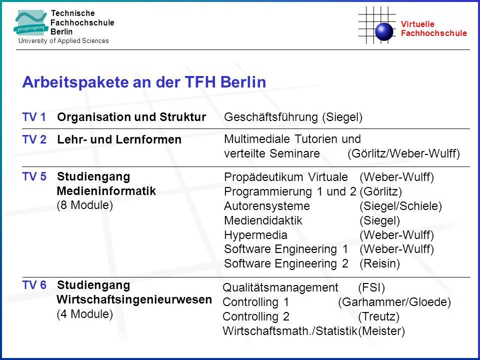 Arbeitspakete an der TFH Berlin
