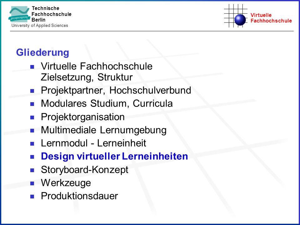 Gliederung Virtuelle Fachhochschule Zielsetzung, Struktur. Projektpartner, Hochschulverbund. Modulares Studium, Curricula.