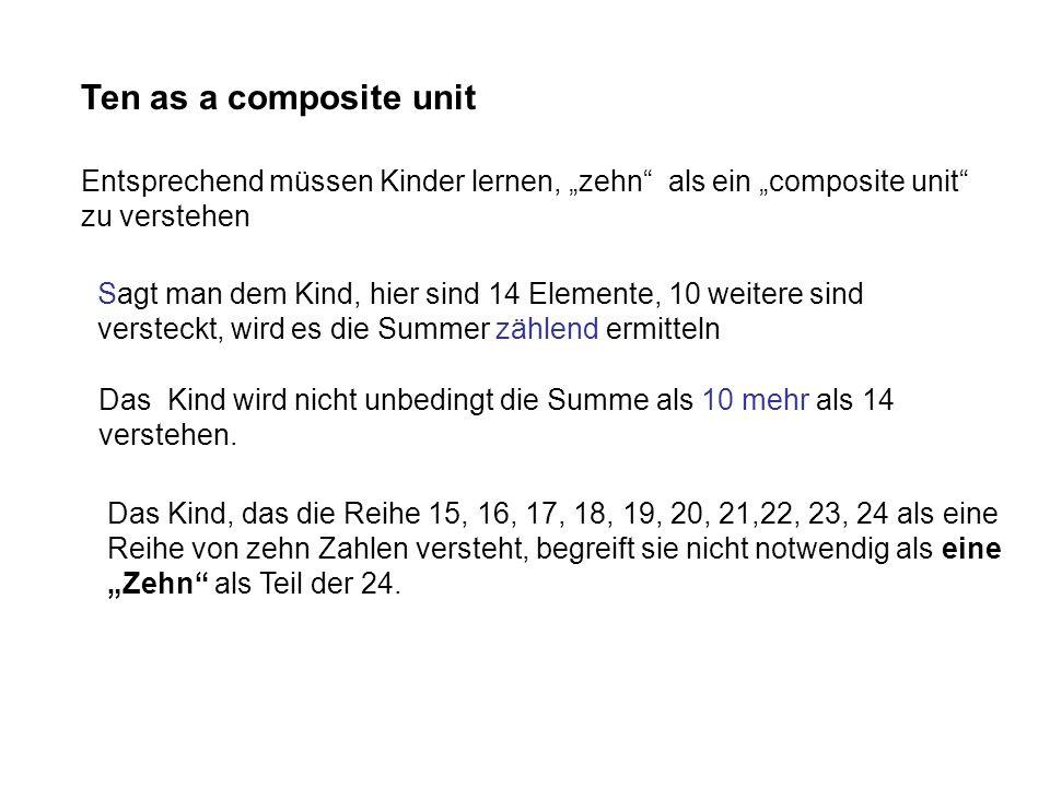 """Ten as a composite unit Entsprechend müssen Kinder lernen, """"zehn als ein """"composite unit zu verstehen."""