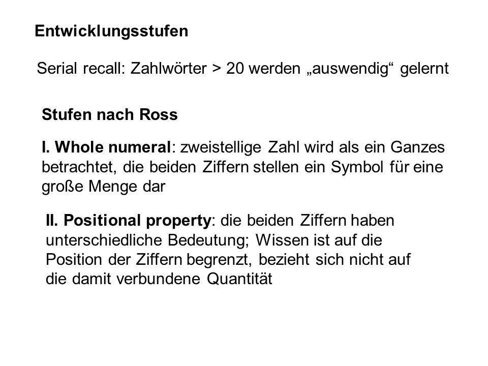 """Entwicklungsstufen Serial recall: Zahlwörter > 20 werden """"auswendig gelernt. Stufen nach Ross."""