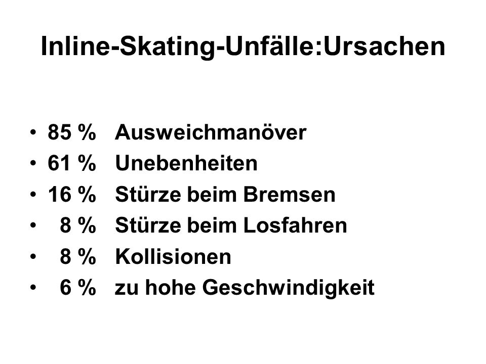 Inline-Skating-Unfälle:Ursachen