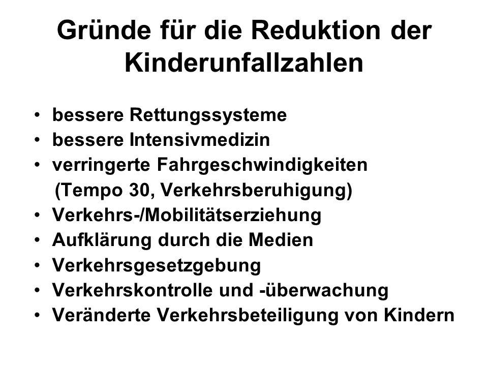 Gründe für die Reduktion der Kinderunfallzahlen