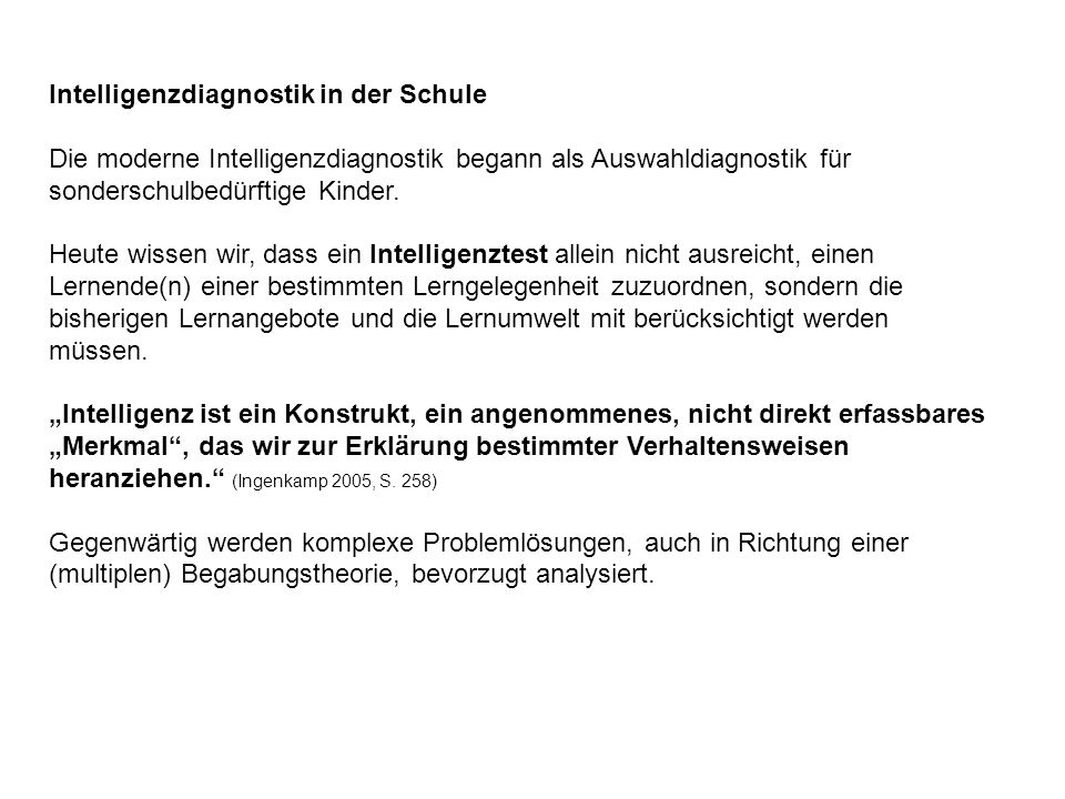 Intelligenzdiagnostik in der Schule