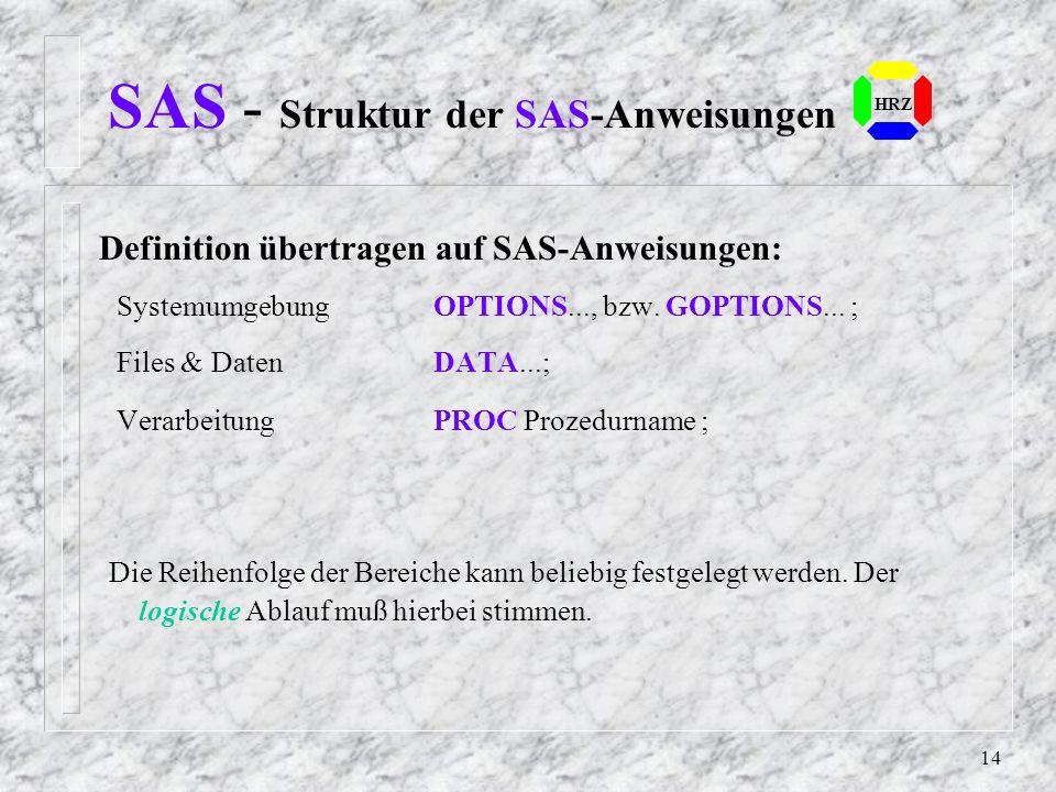 SAS - Struktur der SAS-Anweisungen