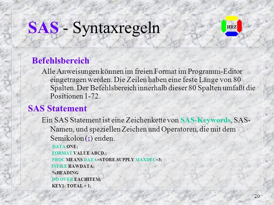 SAS - Syntaxregeln SAS Statement